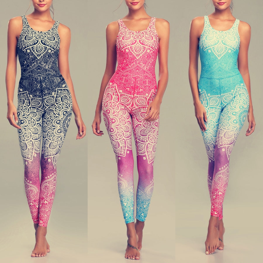 LI-FI Mandala Print Yoga Set Fitness Women Sports Running Suit Gym Wear Halter Vest Workout Elastic Quick Dry Yoga Sets
