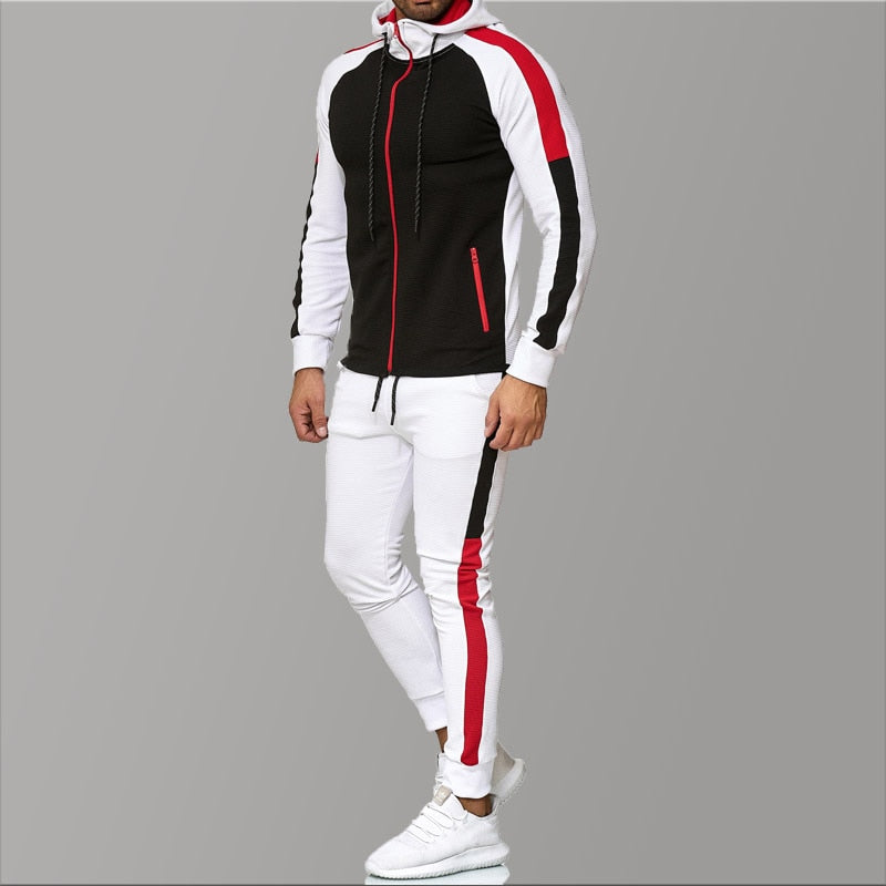 5XL Big Size Mens Tracksuits 2020 Men's Clothing Hooded Red Stripe Spring Men's Sports Suit Casual Tracksuit Men Sweat New