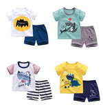 Load image into Gallery viewer, cotton Summer baby children soft shorts suit t-shirt todder boy and girl kids dinosaur cartoon cute clothes cheap stuff for 0-6Y