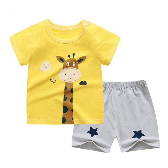 cotton Summer baby children soft shorts suit t-shirt todder boy and girl kids dinosaur cartoon cute clothes cheap stuff for 0-6Y