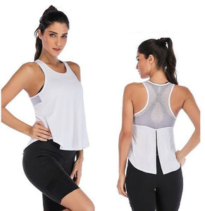 Women Fitness Sports Shirt Sleeveless Yoga Top Running GymShirt Vest Athletic Undershirt Yoga Gym Wear Tank Top Quick Dry