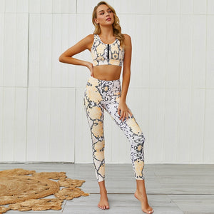 Yoga Set Women 2 Piece New Sexy Leopard Sport Suit Fitness Wear Running Workout Leggings Pant With Zipper Top Female Tracksuit