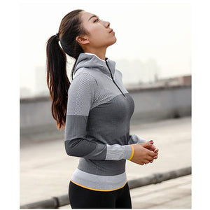 Women Hooded running jacket Long Sleeve Sweatshirt Ladies Yoga Sports Zipper Jacket Fitness Gym Shirts Women's Dropship