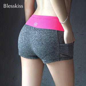 Blesskiss Yoga Shorts Gym Wear Ladies Fitness Summer Spandex Lulu Pocket Sport Shorts For Women Tight Short Workout Leggings