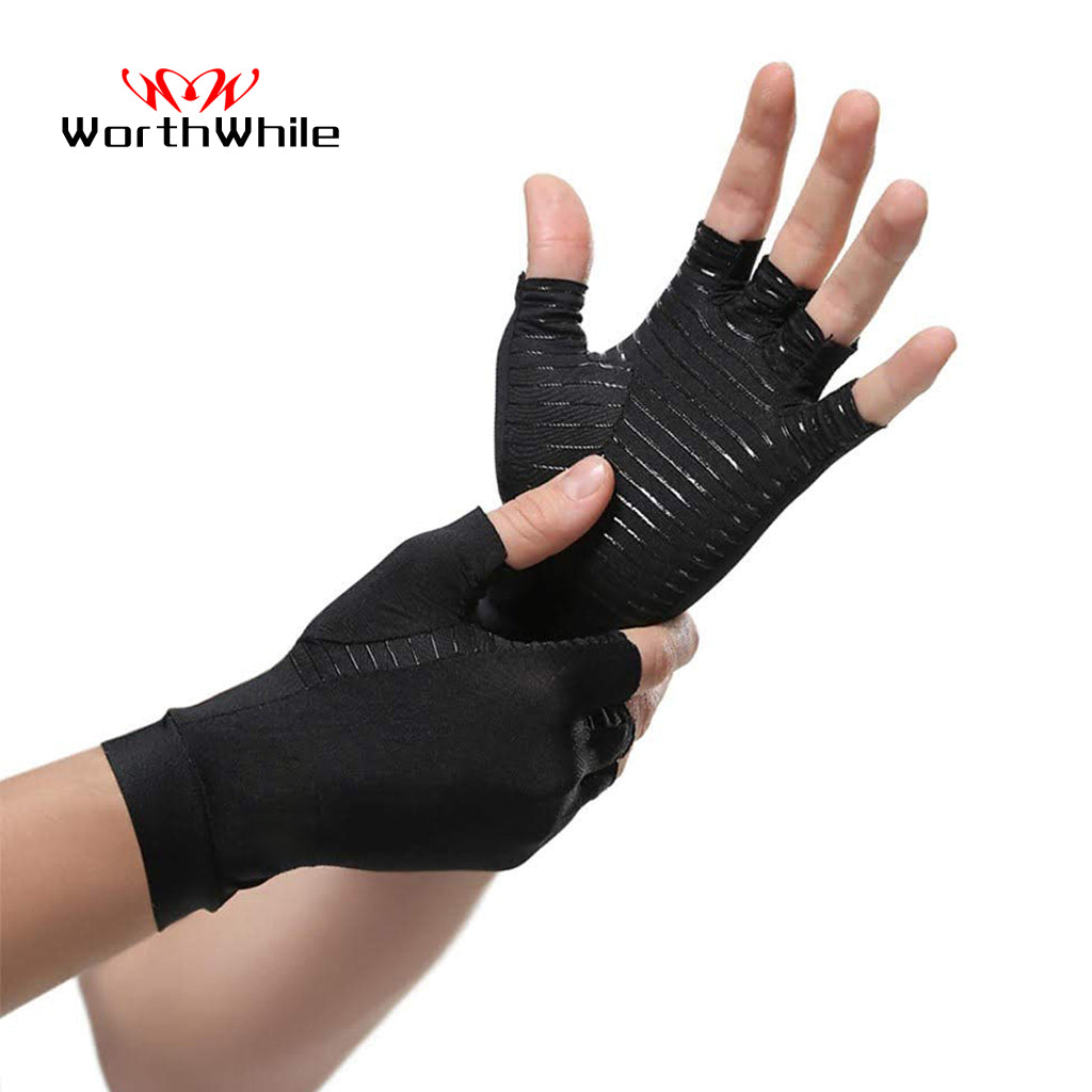 WorthWhile 1 Pair Compression Arthritis Gloves for Women Men Joint Pain Relief Half Finger Brace Therapy Wrist Support Anti-slip