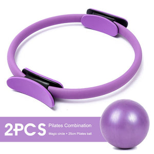 2PCS Yoga Ring Kit Professional Pilates Muscle Exercise Magic Circle Wrap Slimming Body Building Fitness Circle Yoga Accessories