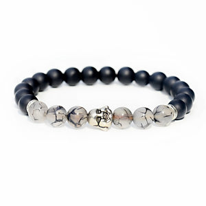 Fashion Buddhism Yoga Balance Bracelet Men Bileklik Black Matte Natural Stone Beads Bracelet For Women Braclet Jewelry AB216