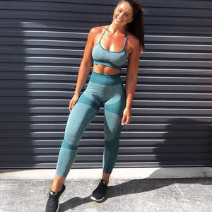 hot sale Niceres Seamless Yoga Set Women Fitness Yoga Bra Sports Bra Tops High Waist  Workout leggings Gym Pants Sports Suit