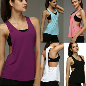 Female Yoga Vest Sleeveless Backless Sport Shirt Women Running Gym Shirt Women Sport Jerseys Fitness Yoga Shirt Tank Top(no bra
