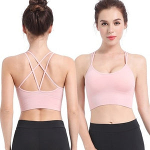 Women Sports Bra Tops Backless Fitness Yoga Running Sports Bra Breathable Sexy Crop Top SportsWear Yoga Tops Sports Push Up Bra