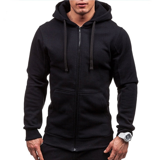Pocket Solid Hooded Cardigan for Men Zipper Spring Black Hoodies Coat Mens Casual Long Sleeve Sweatshirts Male Jackets 2020