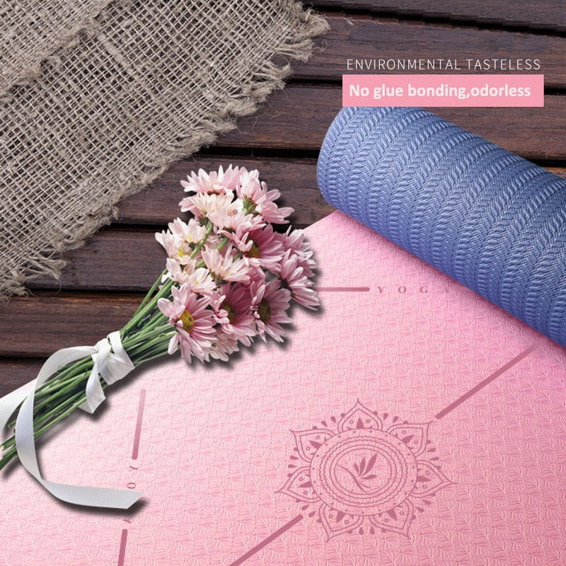 Fitness Workout Yoga Mat With Yoga Bag Position Line Colchoneta Ejercicio Yoga Antidesliz For Pranamat Pilates Excercise Mat
