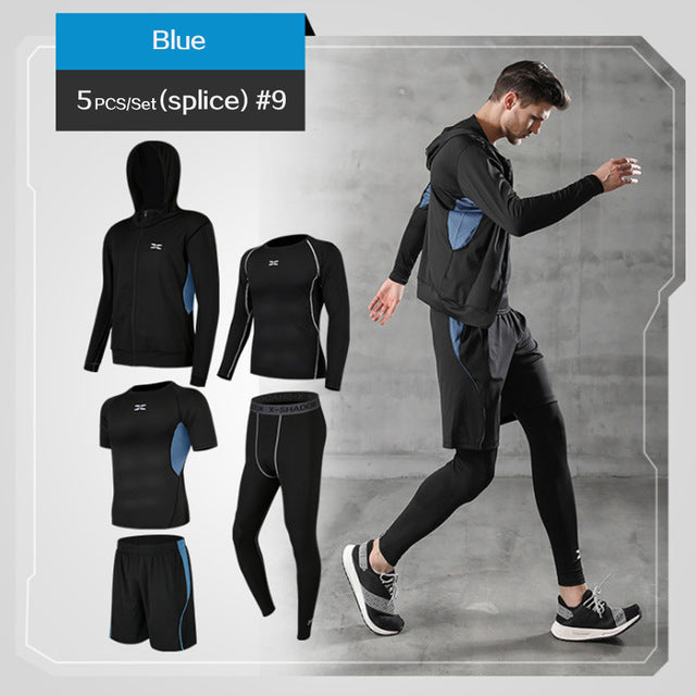 REXCHI 5 Pcs/Set Men's Tracksuit Gym Fitness Compression Sports Suit Clothes Running Jogging Sport Wear Exercise Workout Tights