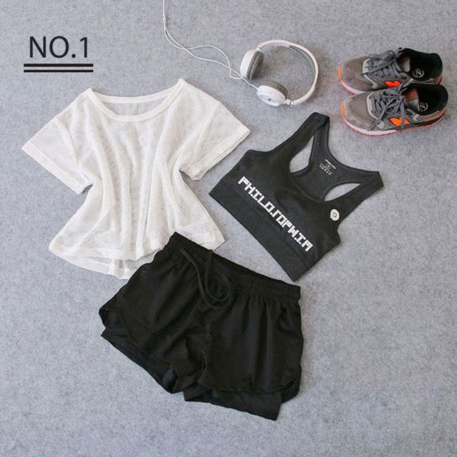 Sportswear 3 Piece Yoga Set Women Gym Cloth Sport Suit Shirt Top+Bra+Shorts Female Workout Athletic Running Fitness Clothing