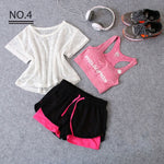 Load image into Gallery viewer, Sportswear 3 Piece Yoga Set Women Gym Cloth Sport Suit Shirt Top+Bra+Shorts Female Workout Athletic Running Fitness Clothing