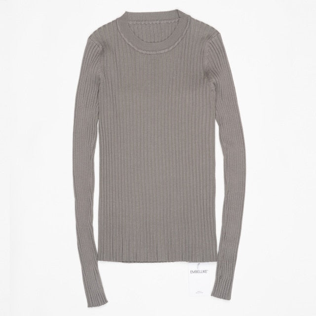 Women Sweater Pullover Basic Rib Knitted Cotton Tops Solid Crew Neck Essential Jumper Long Sleeve Sweaters With Thumb Hole
