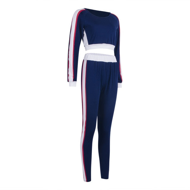 Sexy Women Sports Yoga Set Long Sleeve Crop Top Long Pants Outfit Yoga Workout Gym Fitness Athletic Workout Clothes Tracksuit