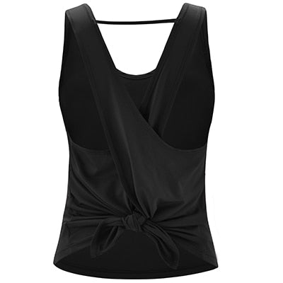 Zhangyunuo Yoga Vest Sport Tank Top Women Sleeveless Backless Cross Gym Tops Athletic Fitness Vest Dry Fit T-shirt Workout Shirt