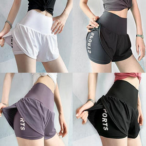 women High waist sport shorts mesh yoga workout hot shorts Jogging fitness sportwear