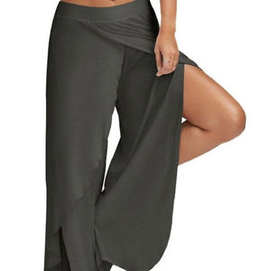 Womens Plus Size Wide Leg Cropped Pants Sexy High Split Flowy Wrap Layered Yoga Palazzo Trousers Casual Baggy Workout Loungewear