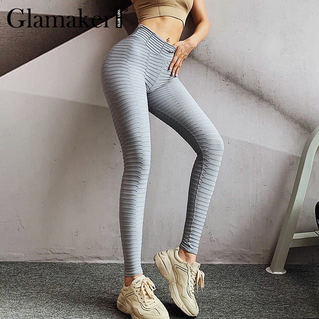 Glamaker Grey high waist sport fitness leggings Women sexy push up bodycon ladies pants capris Work out exercise black jeggings