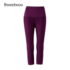 SWEETWOO Leggings Sport Women Fitness Gym Tights Running Women Capri Pants Elastic 3/4 Pants Sport Slimming High Waist Exercise