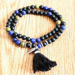 Load image into Gallery viewer, Natural Stones bead with wing charm Tassel Stretch Bracelets Boho Elastic Bracelet Handmade Mala Bead Bracelet Yoga Jewelry