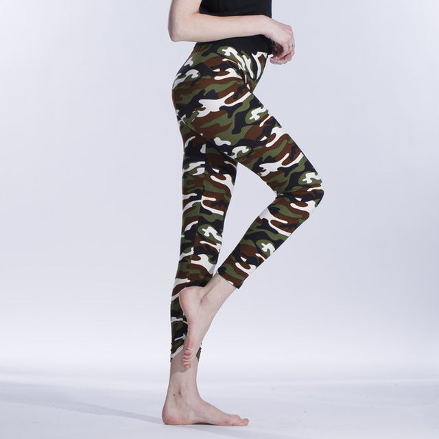 Summer Women Yoga Pants Elastic Sport Camouflage Leggings 3D Print Thin Fleece Slim Capris Quick Dry Trouser Skinny Gym Jeggings