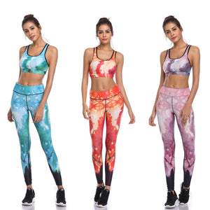 LI-FI Fitness Yoga Set Women Print Push Up Quick Dry Spotrs Wear Yoga Suits Running Workout Gym Wear Tight Slim Training Suit