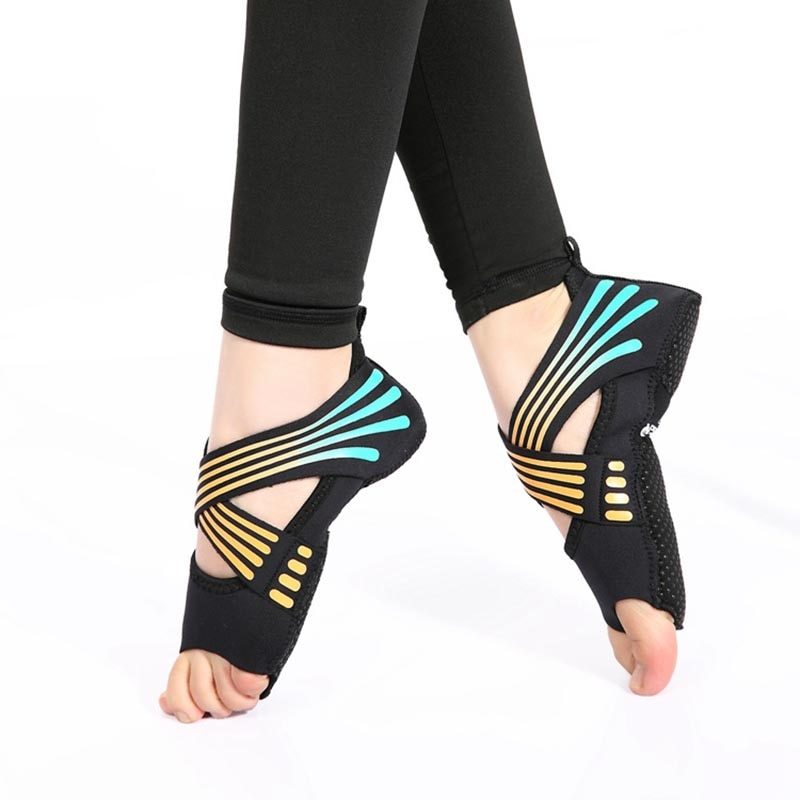 Women's Cross Warp Aerial Yoga Shocks Professional Half Toe Grip Non-slip Shoes For Ballet Yoga Pilates Barre S-M Size 3 Colors