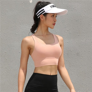 Lucylizz Sexy Cross Sport Bra Top Women Running Fitness Yoga Bra Gym Active Wear Push Up Workout Bra Sportswear Sport Bh