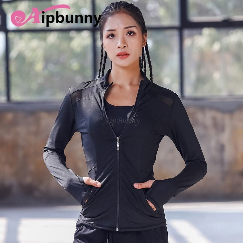 AtejiFey HOT High Flexible Yoga Coat Long Sleeve Women Slim Mesh Running Sport Jacket Quick Dry Black Zipper Fitness Sweatshirts