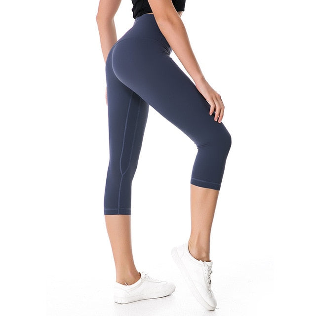 Super Stretchy Cropped Yoga Pants Women High Waisted Workout Leggings Gym Activewear Athletic Capris Squat Proof Exercise Tights