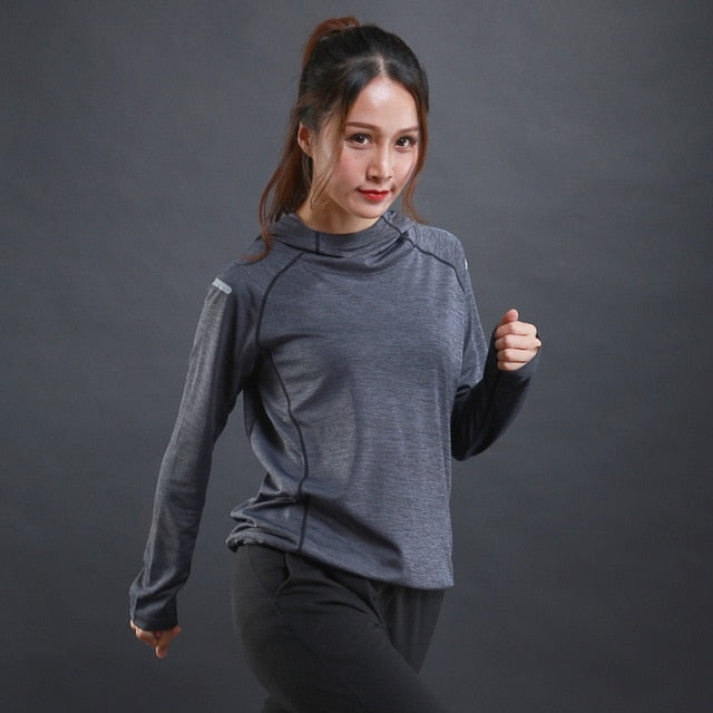 WOSAWE Running T Shirt with hooded for Women Sports Dry Quick Fitness Gym Shirt Ladies Long Sleeve T-shirt Jogging Jogger Tops