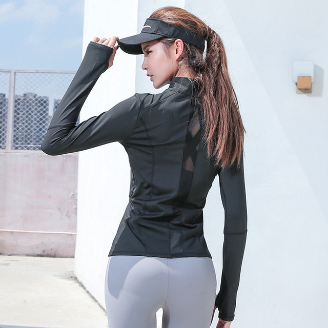 Running Jackets Womens Waterproof Polyester Outdoor Training Fitness Yoga Sport Coats Anti-Pilling Breathable Yoga Shirt Top