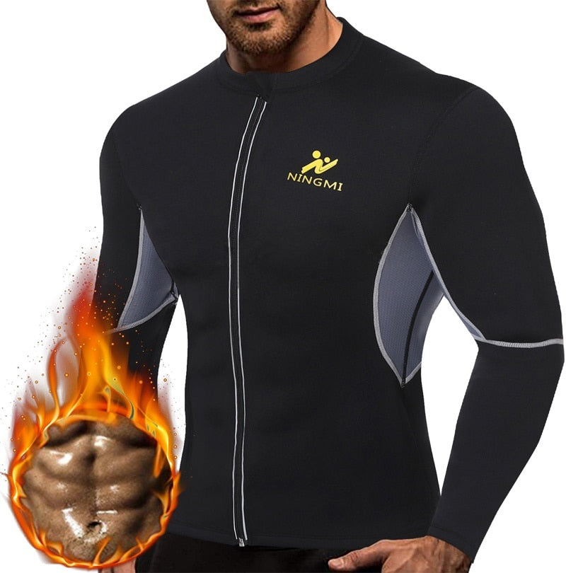 SEXYWG Yoga Top Men HOT Shirts Sport Jacket with Long Sleeve Fitness Tight Weight Loss Neoprene Sauna Waist Trainer Body Shapers