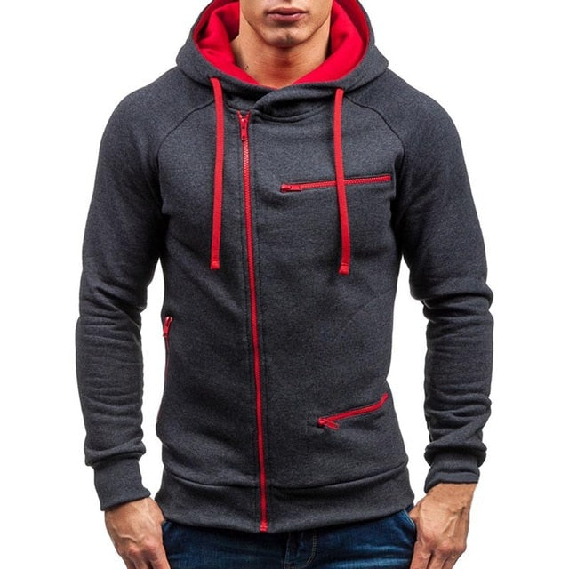Men Hoodie Sweatshirt New Casual Solid Long Sleeve Mens Hoodies Slim Zipper Hooded Cardigan Sweatshirts Men Hoody Sweat Homme