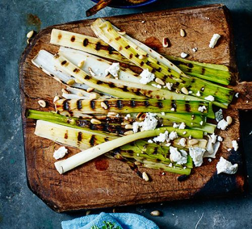 Griddled leeks & goat's cheese