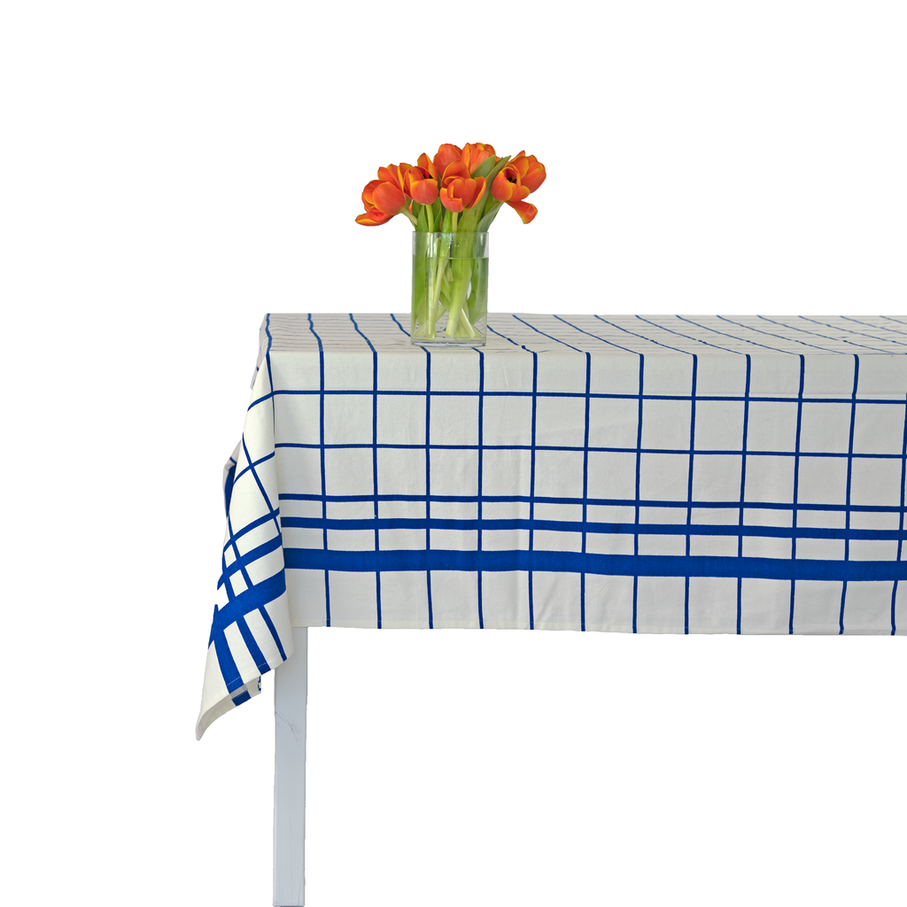 Montauk Windowpane Tablecloth