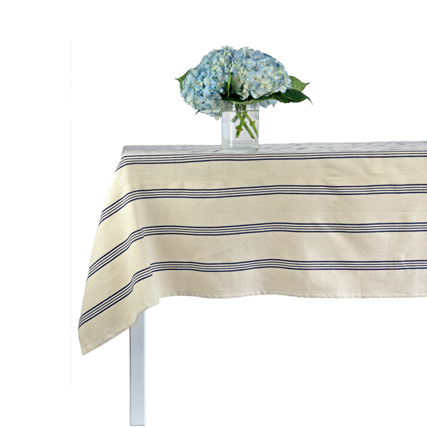 Blue Triple Stripe Tablecloth