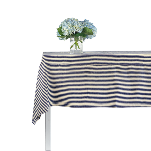 Navy & White Stripe Tablecloth