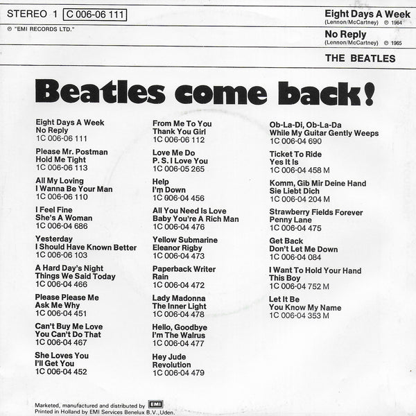Beatles - Eight days a week / No reply