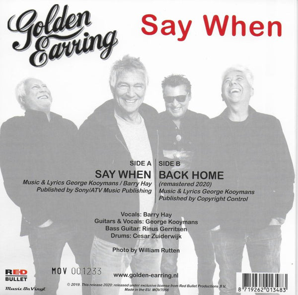 Golden Earring - Say when / Back home (Limited edition, goud vinyl)
