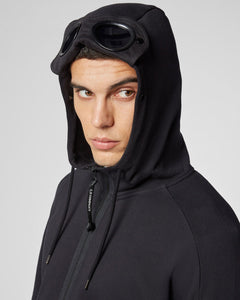 C.P. Company - Diagonal Raised Fleece Full Zip Goggle Hoodie (Black)