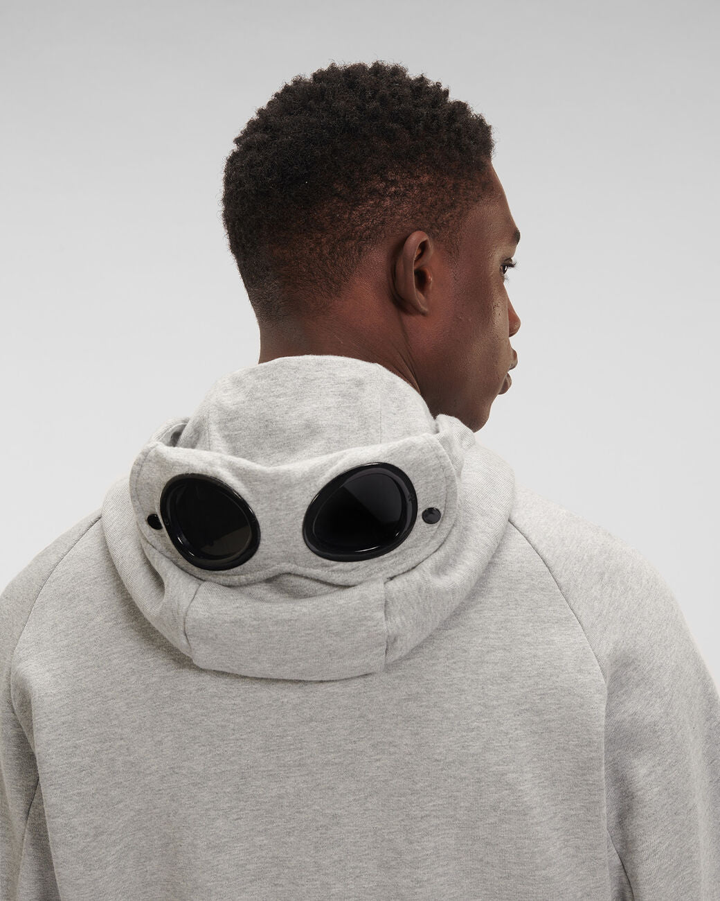 C.P. Company - Diagonal Raised Fleece Full Zip Goggle Hoodie (Grey Melange)