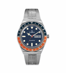 Timex Archive - Q Timex Reissue (Blue Dial - Blue/Orange Top Ring)