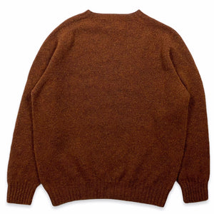 Harley Of Scotland - Pull Shetland Col Rond (Rust)