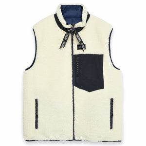 Taion -  Down × Boa Reversible Vest (Navy / Ivory)