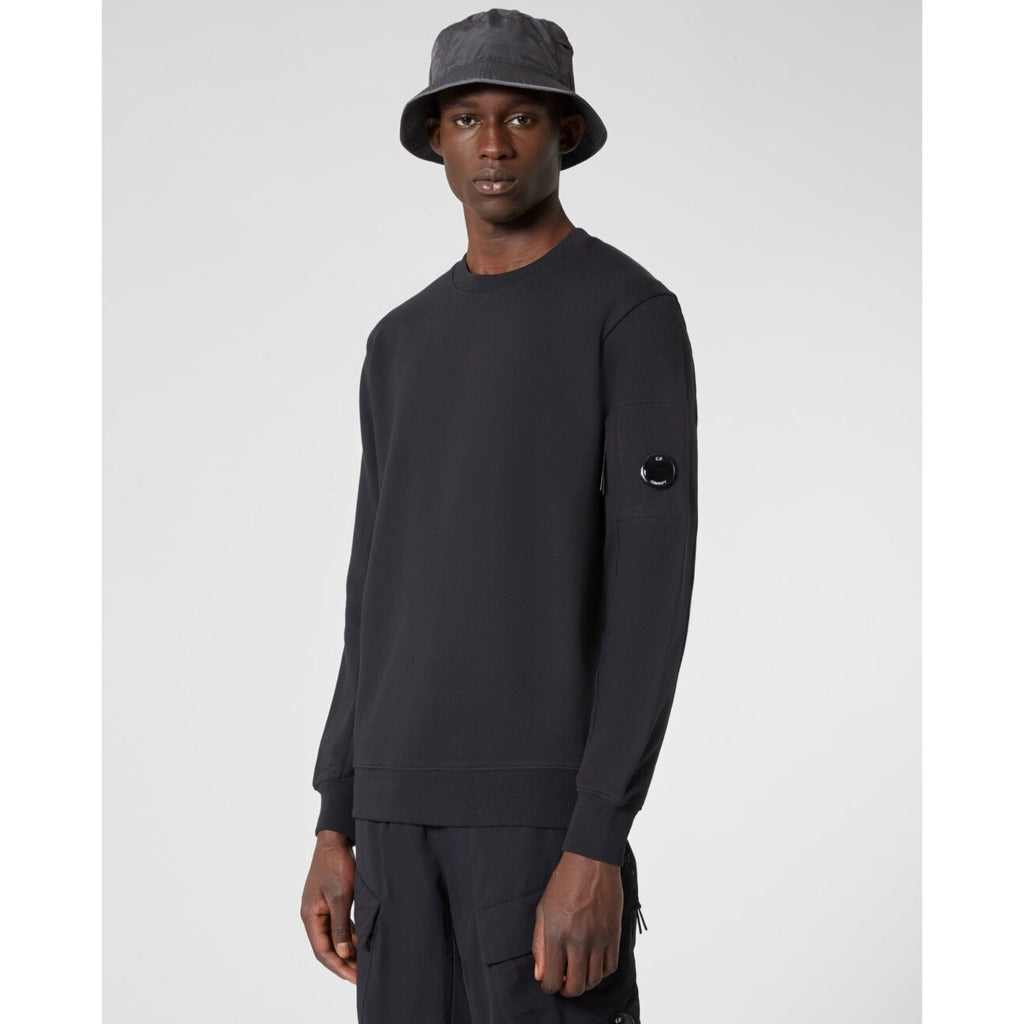 C.P. Company - Diagonal Raised Fleece Lens Crew Sweat (Black)