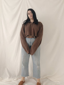 Cropped Brown Zip Top - Size L